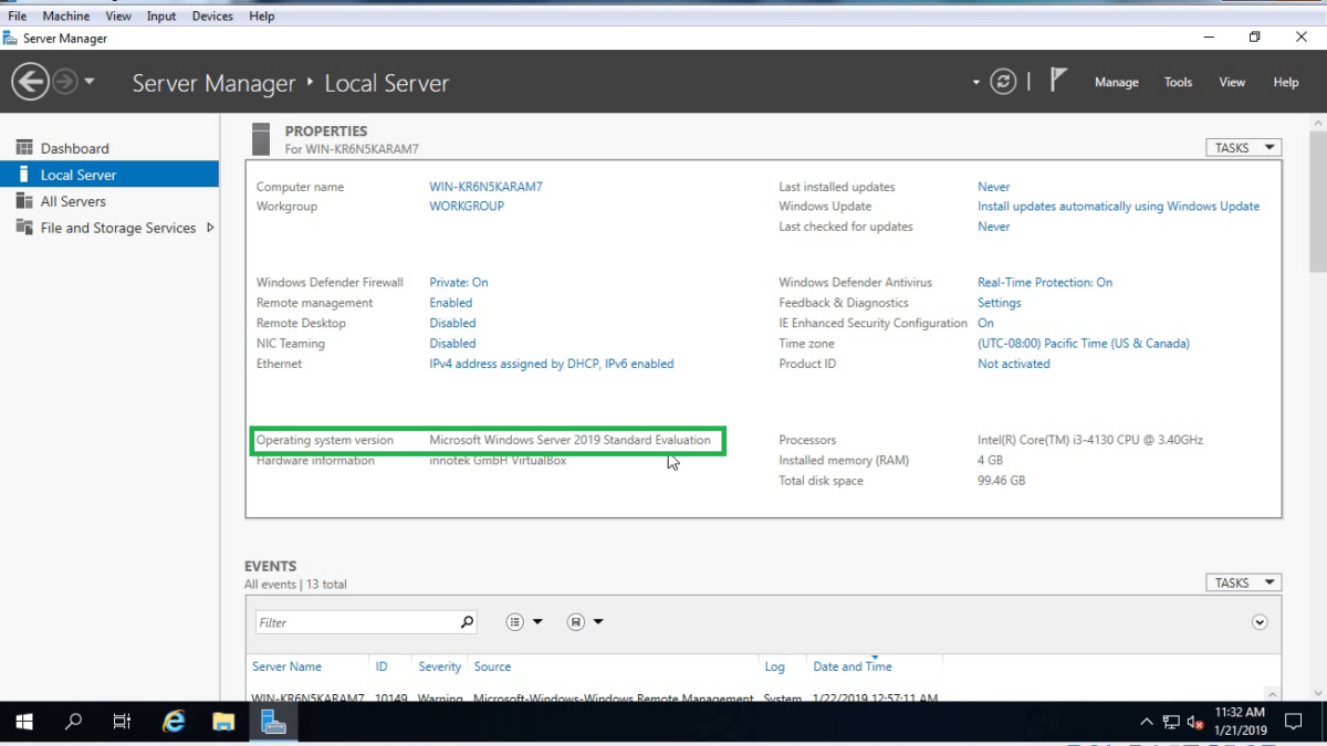 How to Install Windows Server 2019 in Virtual Box