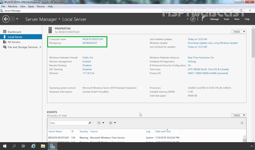 How to Setup a Standalone Root Certificate Authority on Windows Server 2019