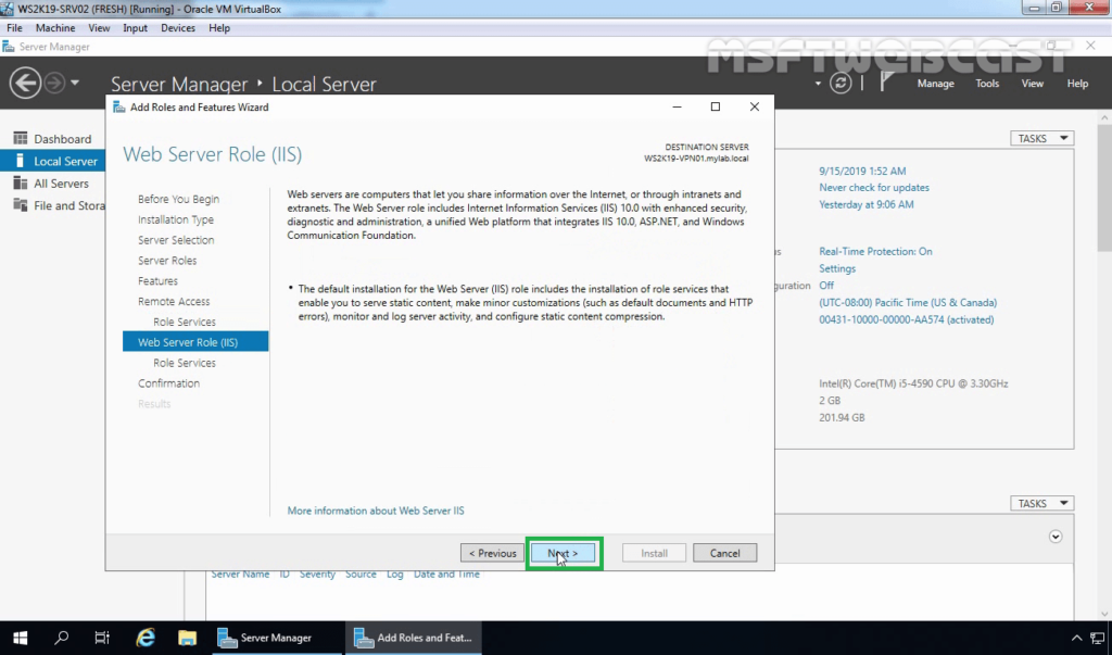 12. Click Next on IIS Overview Page