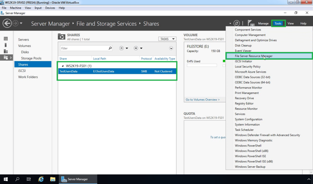 12. Open File Server Resource Manager Console
