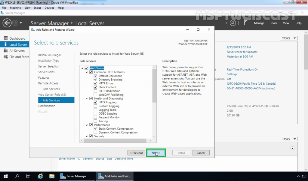 13. Select Required IIS Role Services