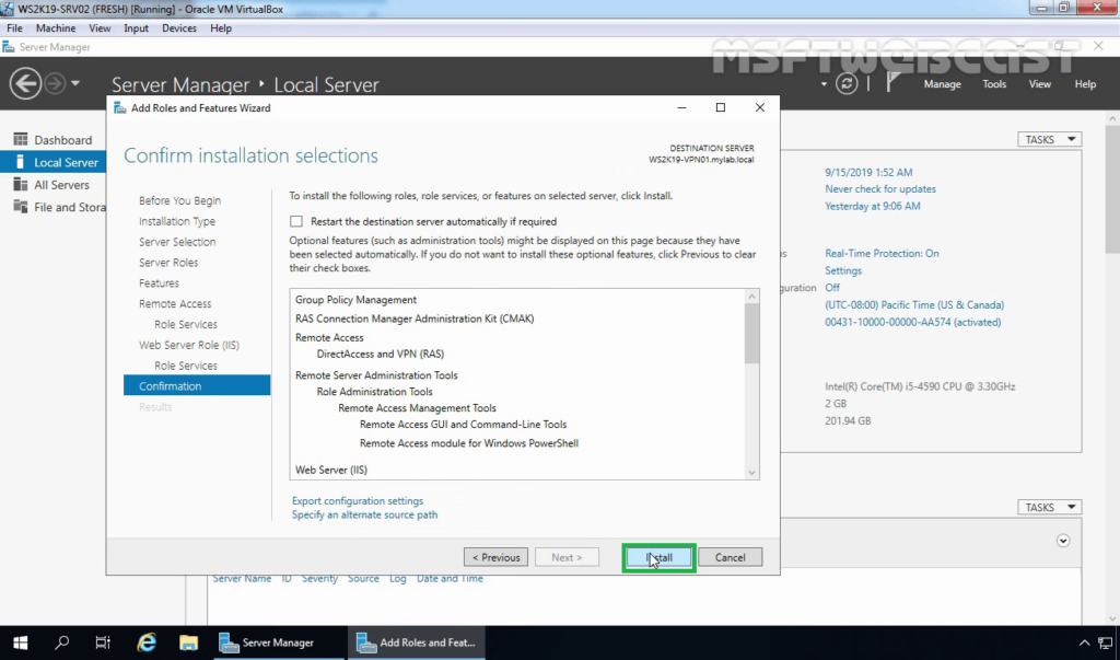 14. Click on Install to Install RAS on Server 2019