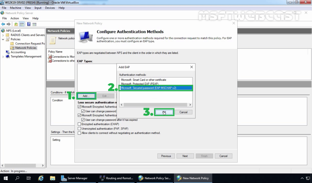 14. Select EAP-MS-CHAPv2 Protocol