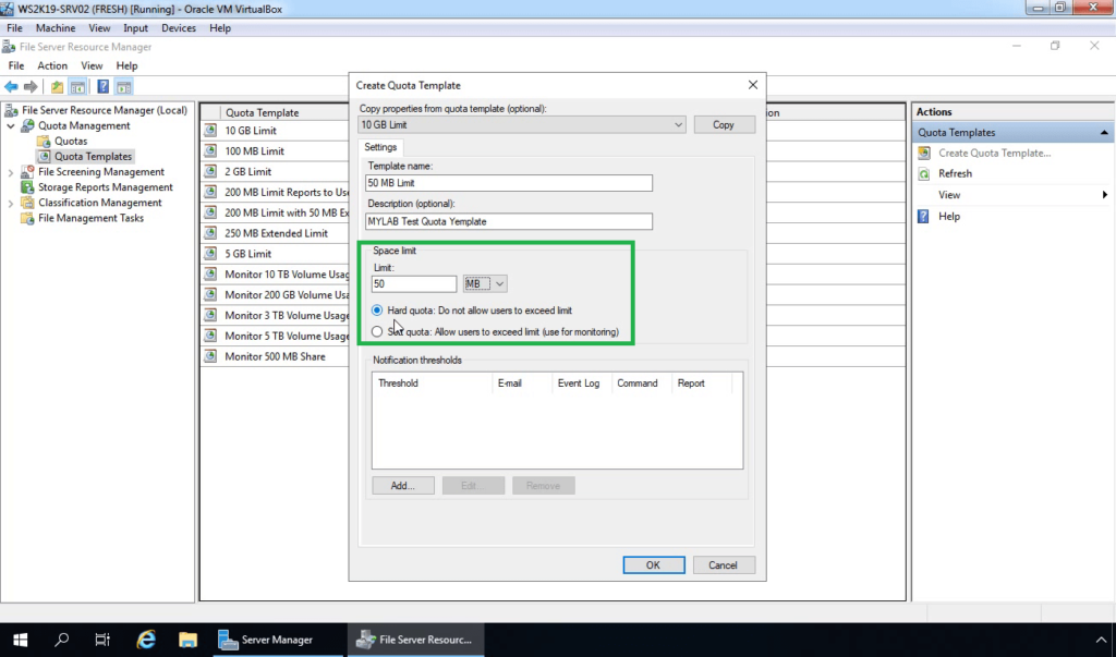 15. Specify disk space limit