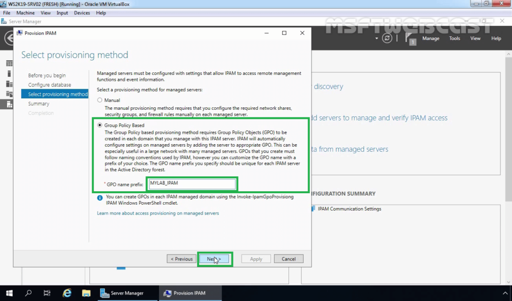 16. Select Group Policy Based Provisioning