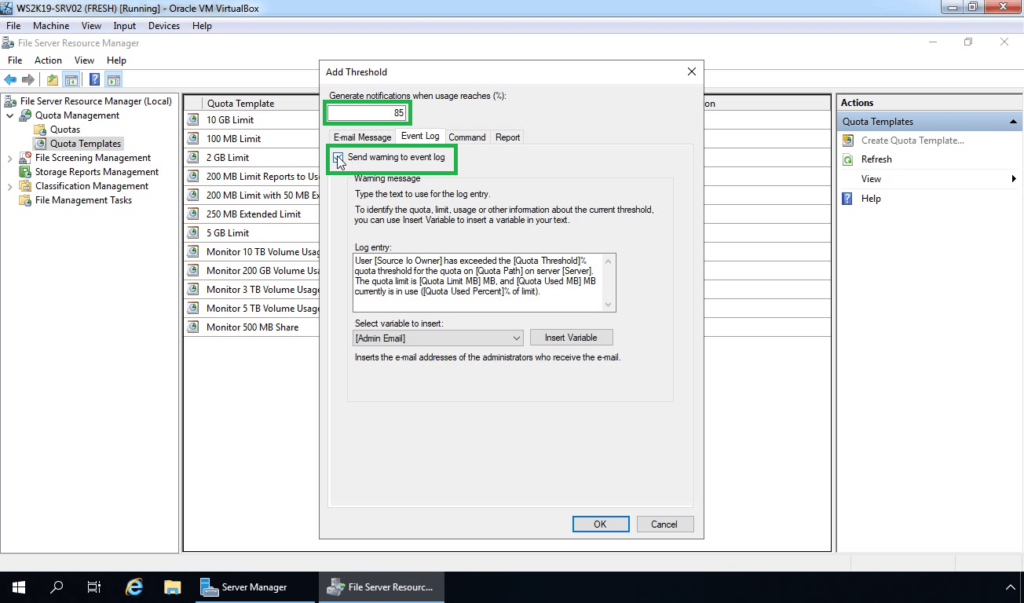 17. Set threshold limit and select send warning to event log