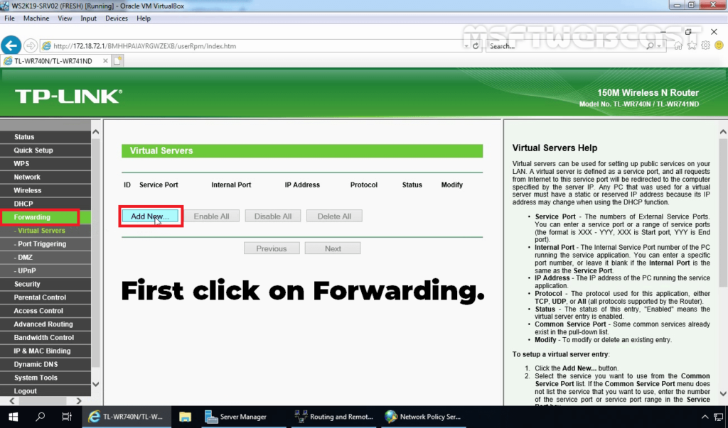2. Click on Forwarding to Add New Rule