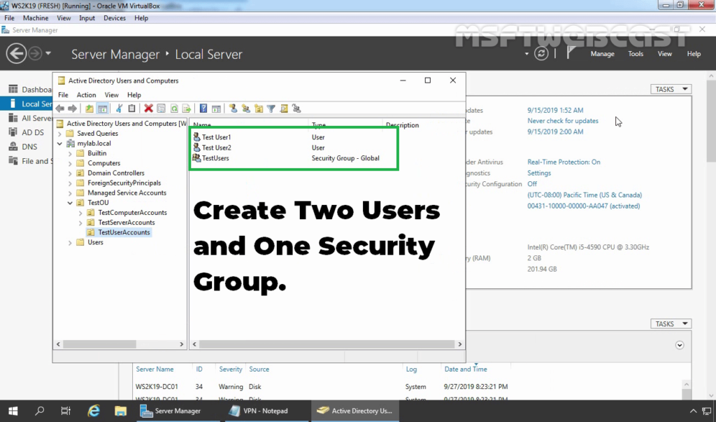 2. Create AD Users and Security Groups