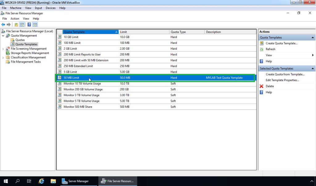 20. Verify new quota template exists on console