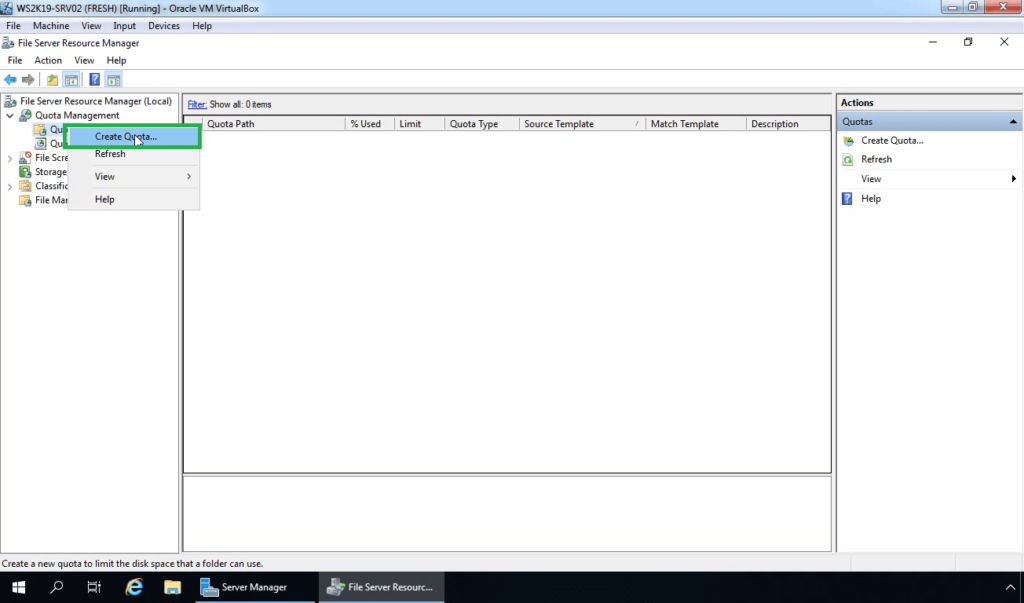 21. Select Create New Disk Quota