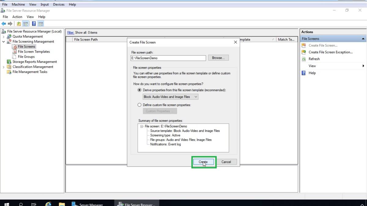 Configure File Screening using FSRM in Windows Server 2019