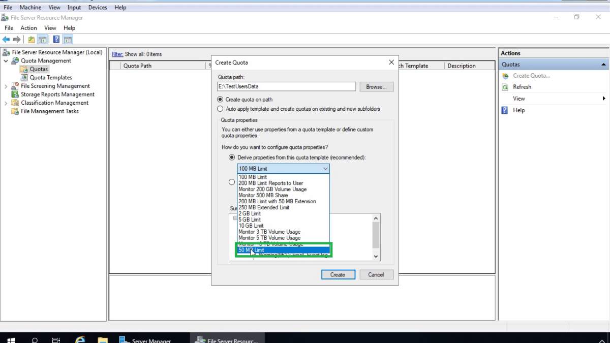 Configure Disk Quota with File Server Resource Manager (FSRM)