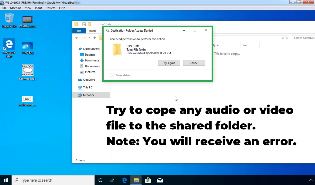 23. Try to copy audio or video file in shared folder