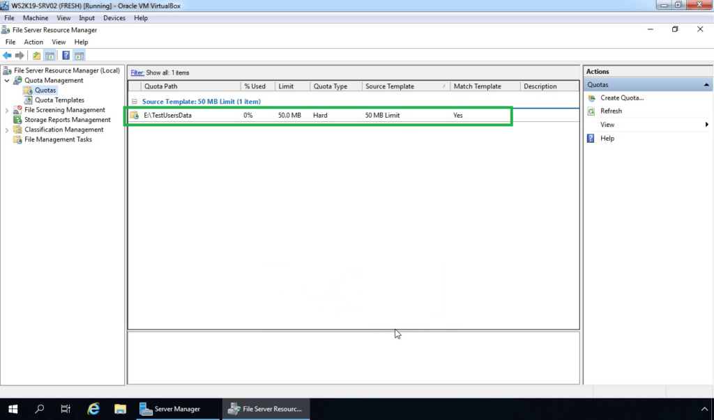 25. Verify Disk Quota entry on console