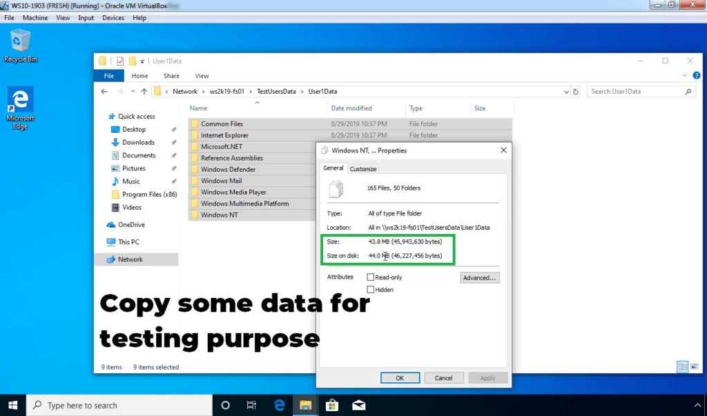 26. Copy some data to test disk quota