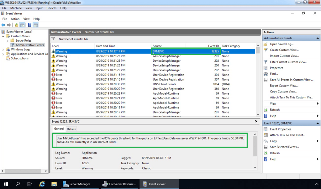 27. Check for Event Log for fsrm disk quota