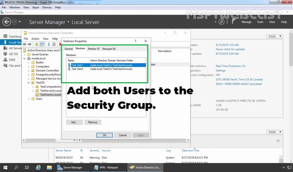 3. Add AD Users to the Security Group