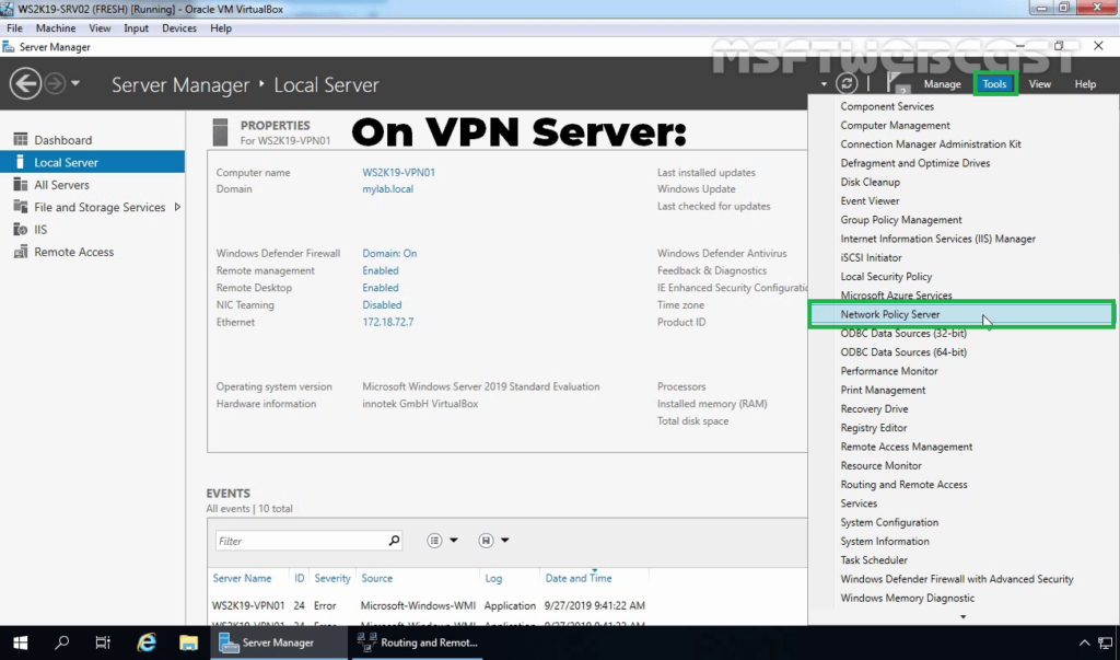 5. Open Network Policy Server Console