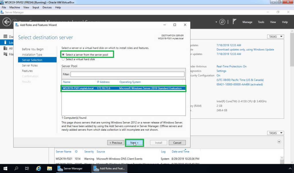 5. Select the server to install fsrm role