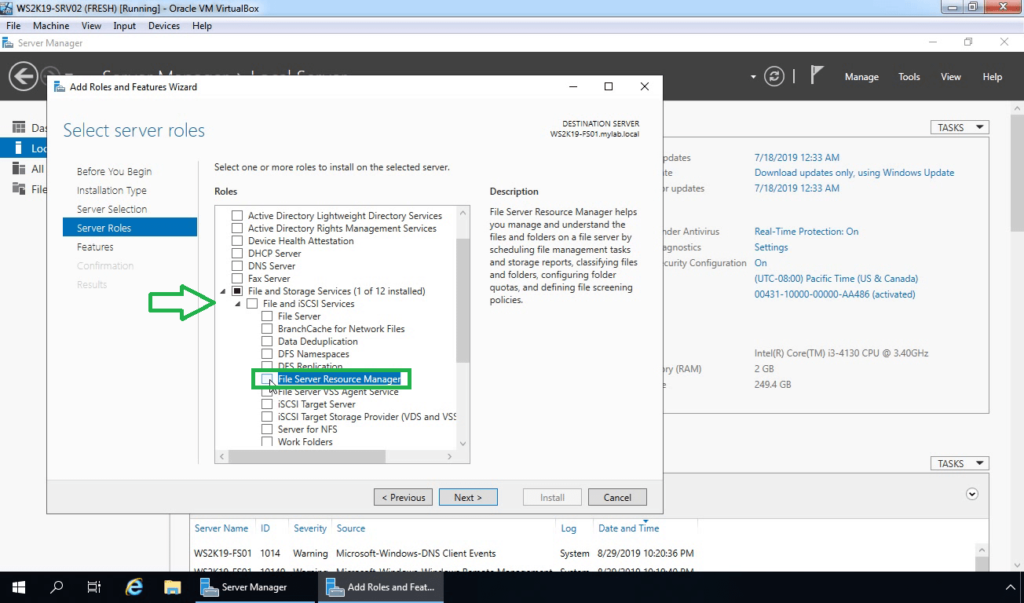 6. Select File Server Resource Manager role