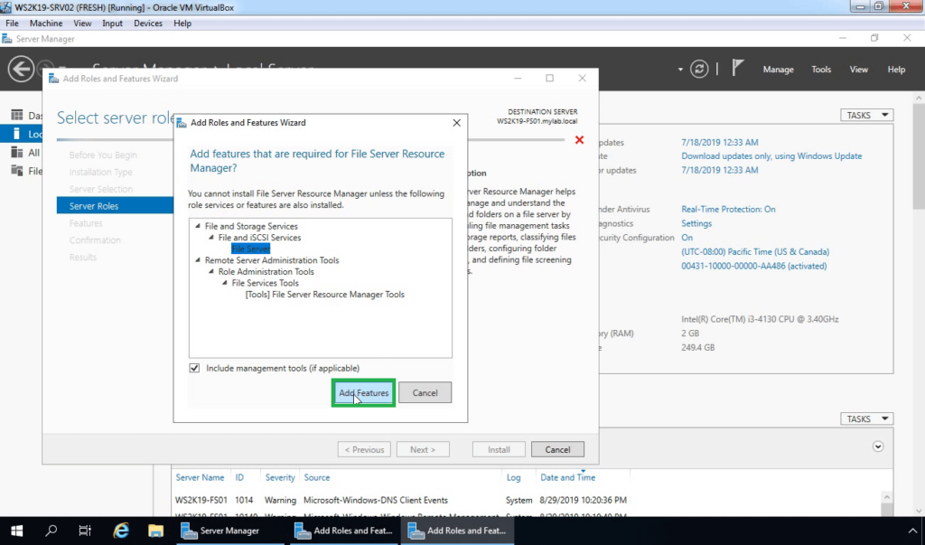 7. Click on Add features required by fsrm