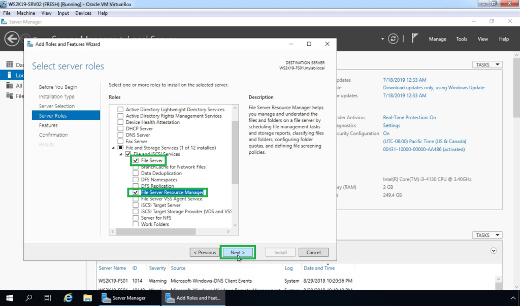 8. Make sure File Server and FSRM are selected