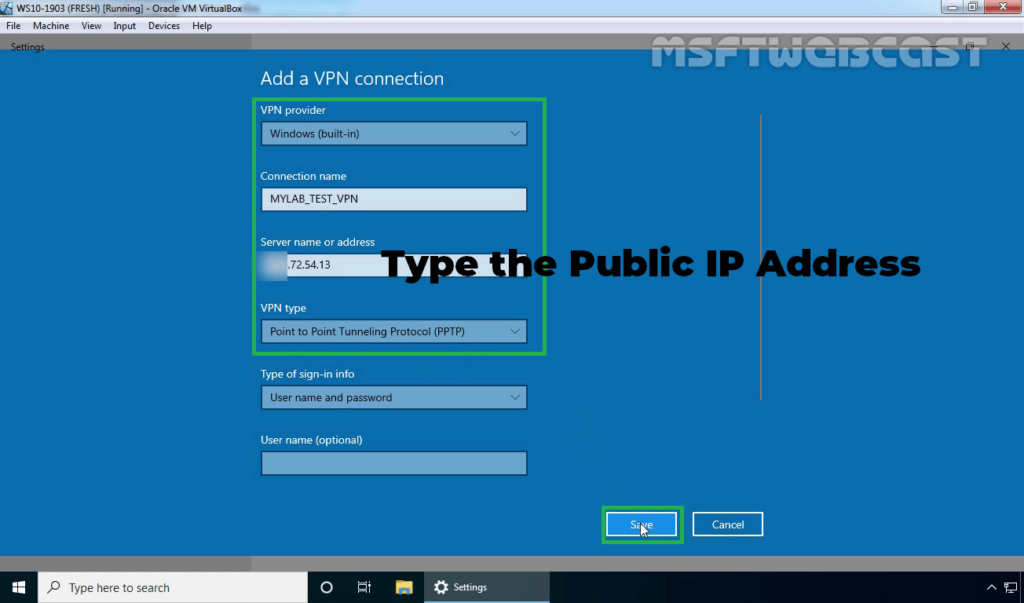 8. Specify Required Details About VPN Connection