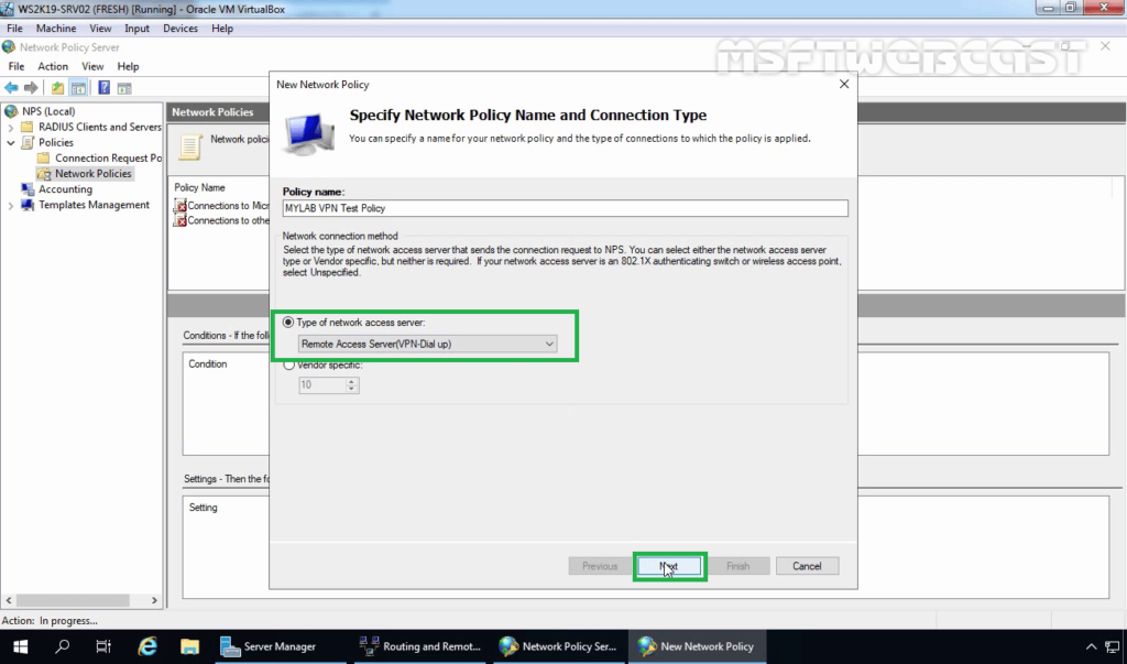 9. Choose Remote Access Server From the Drop-down List