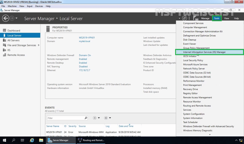 1. Open IIS Manager Console
