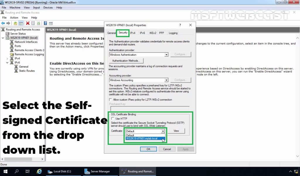 10. Select the Certificate For SSTP VPN