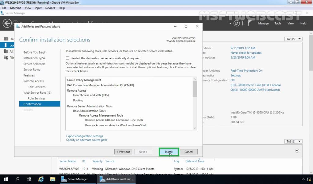 10. click on install