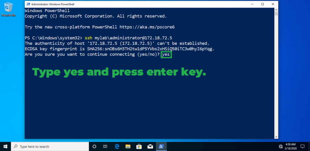 10. type yes and press enter key