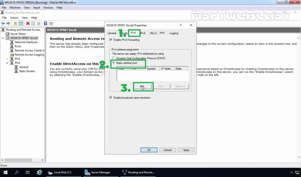 11. Select Static Address Pool on IPv4 Tab