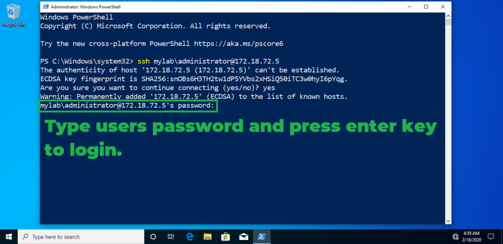 11. type password and press enter