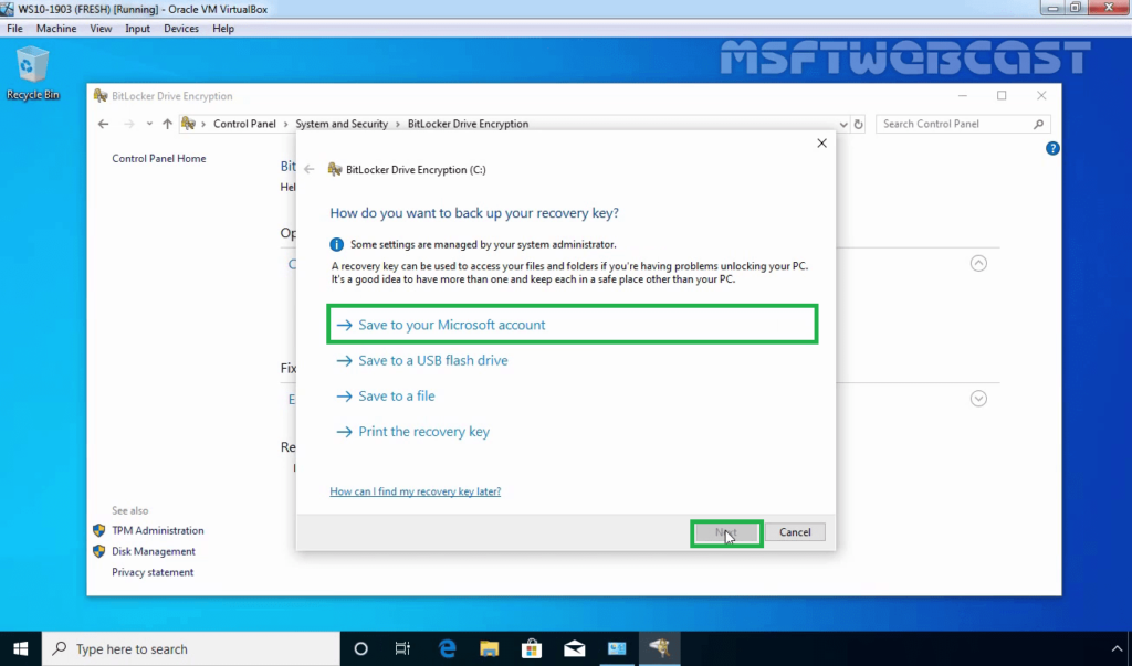 12. Save BitLocker Recovery Key