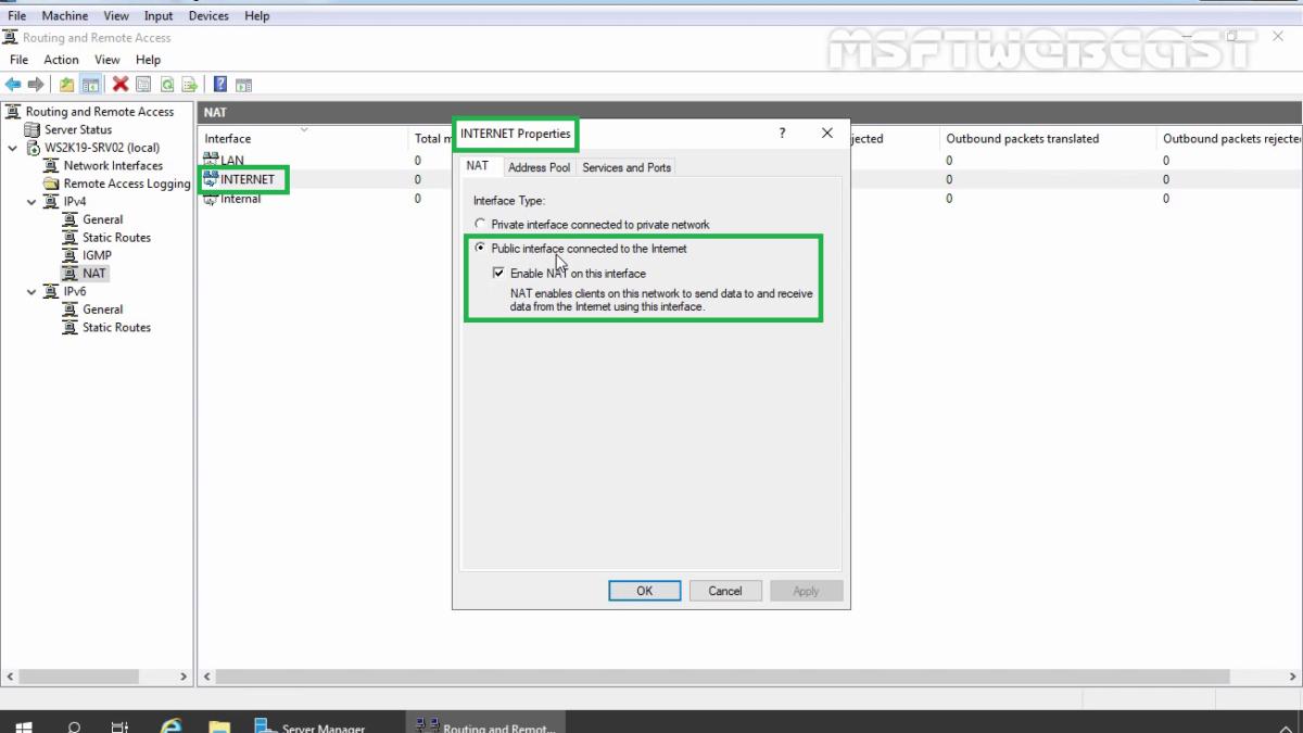 Configure Windows Server 2019 as a NAT Router