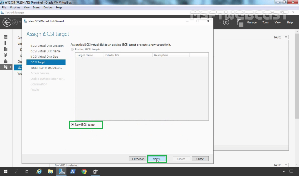 15. Select New iSCSI Target