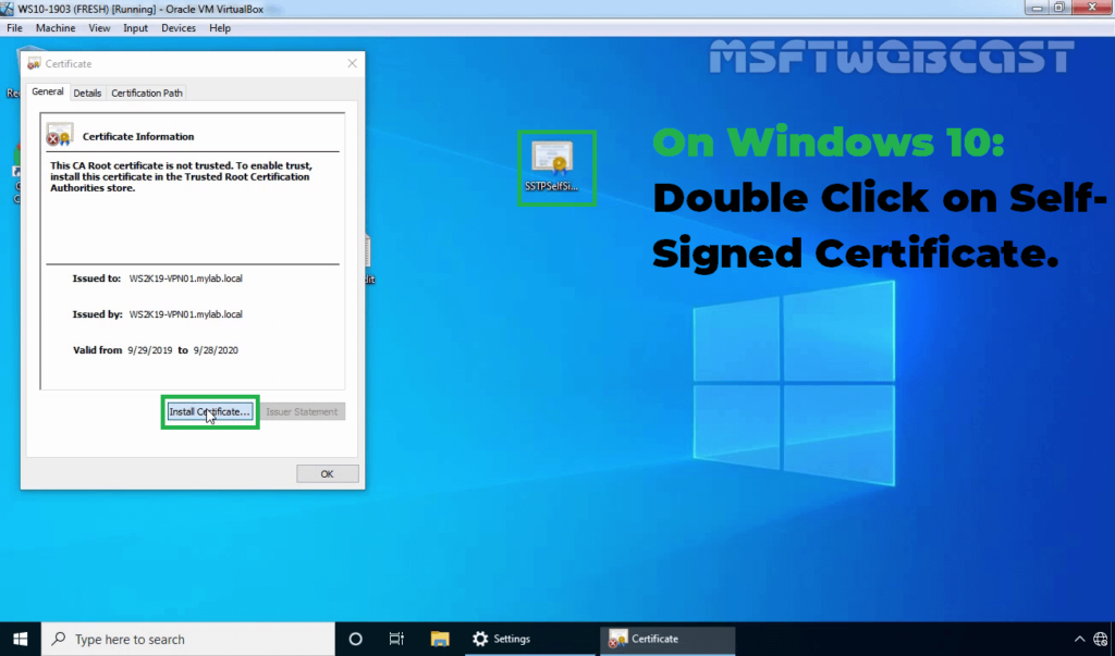 16. Install Self-signed Certificate