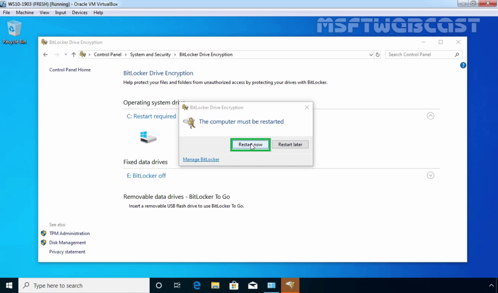 16. Restart Windows 10