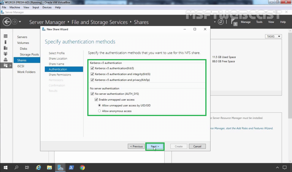 16. Select NFS authentication method