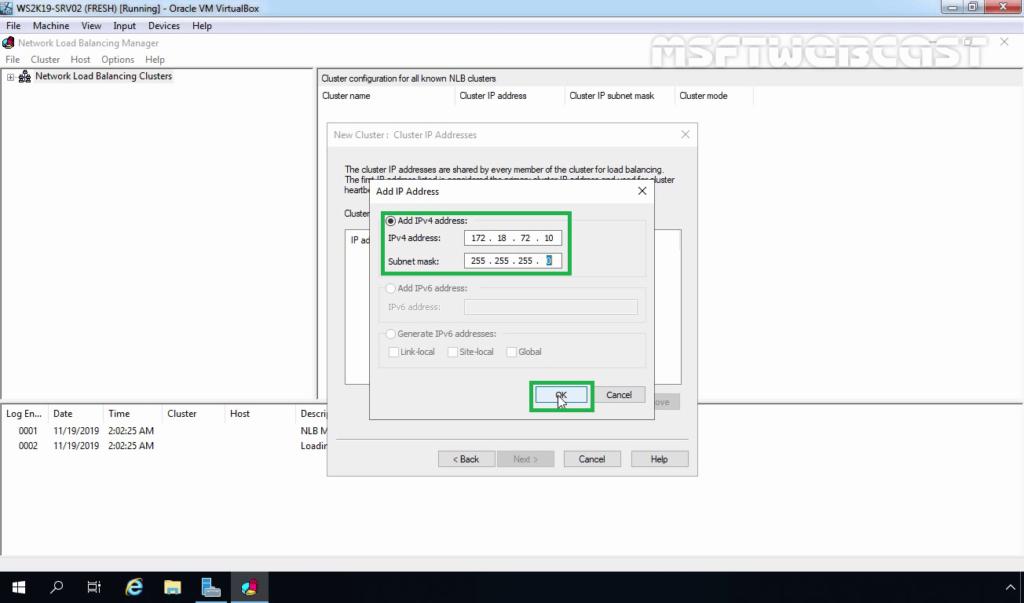 16. Specify NLB Cluster IP Address