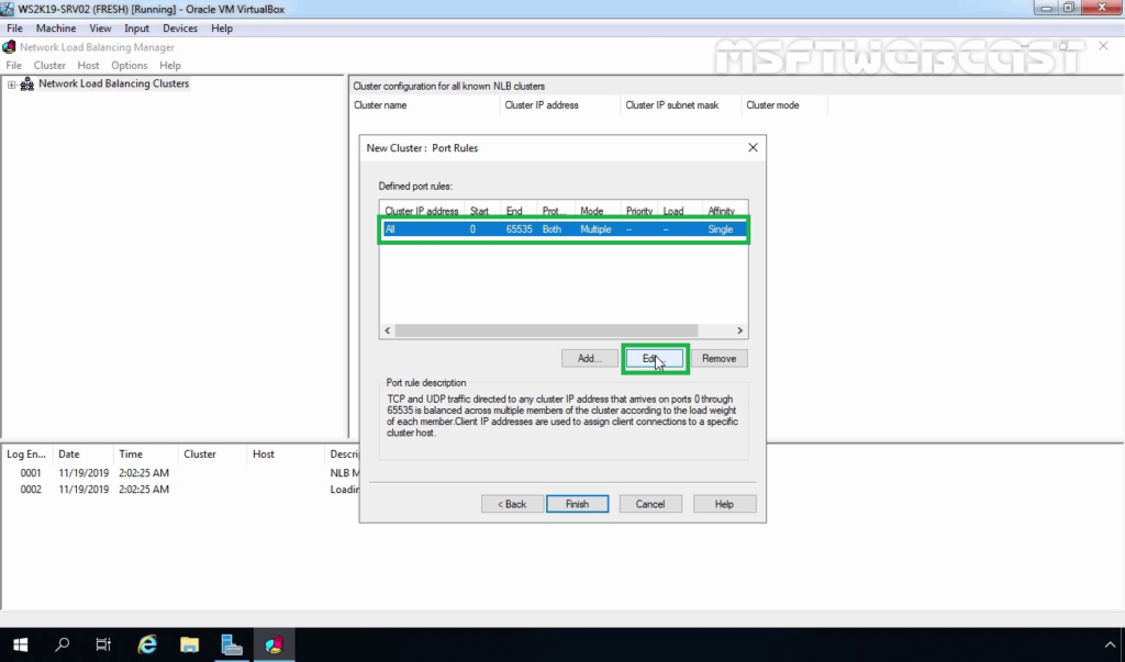 19. Edit Default NLB Port Rule