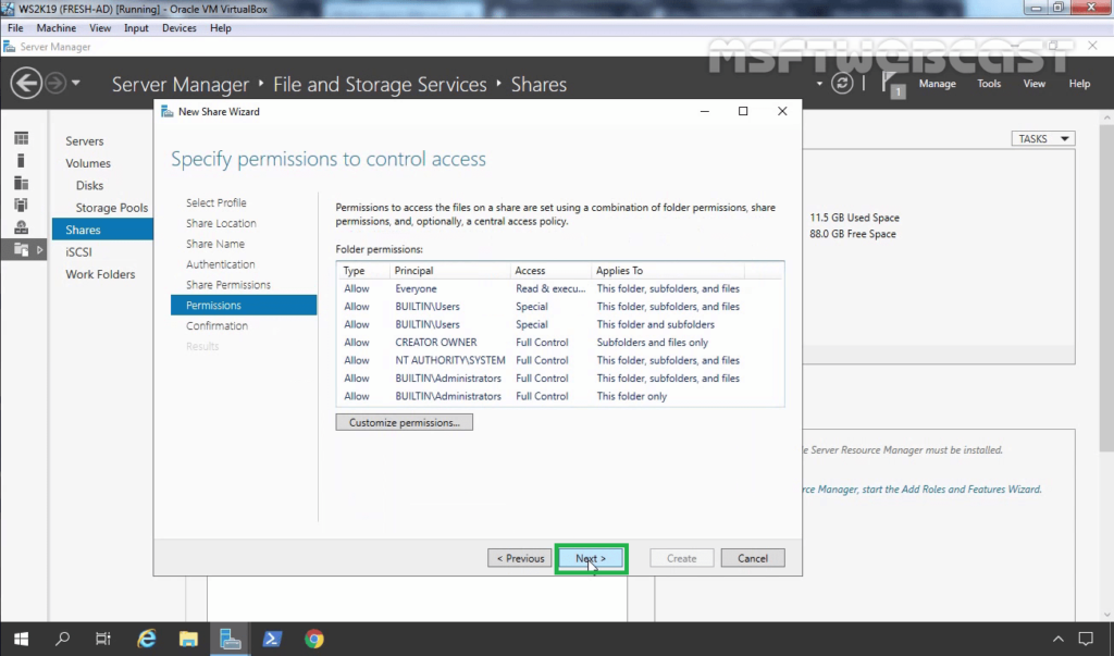 20. Setup NTFS permission as needed