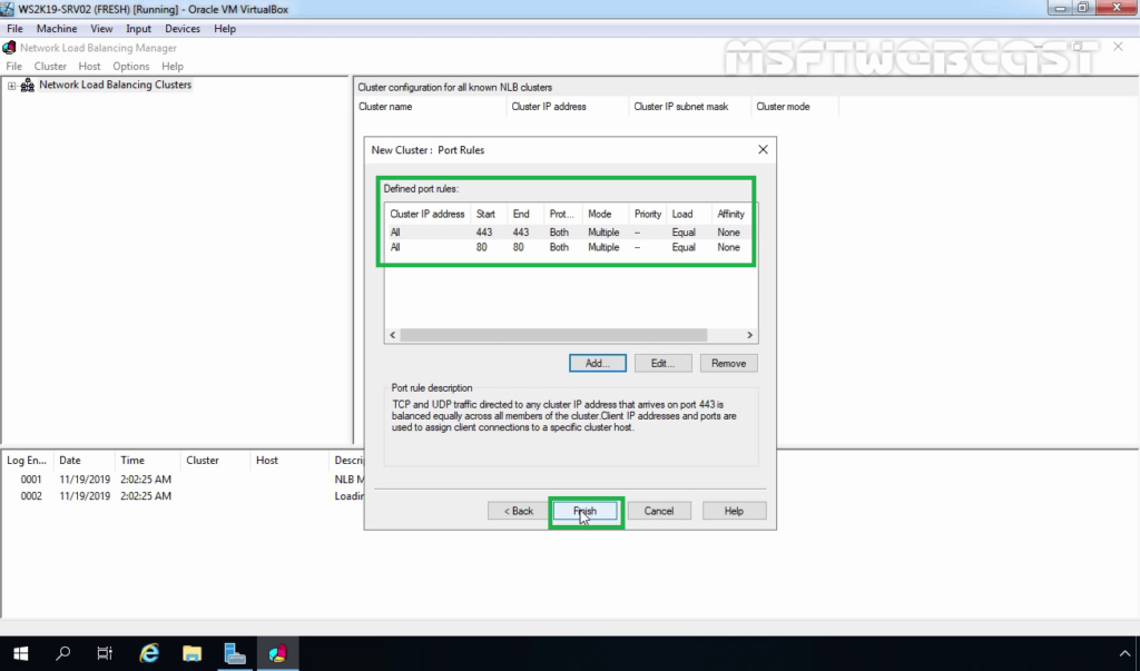 22. Click Finish to complete Cluster Configuration
