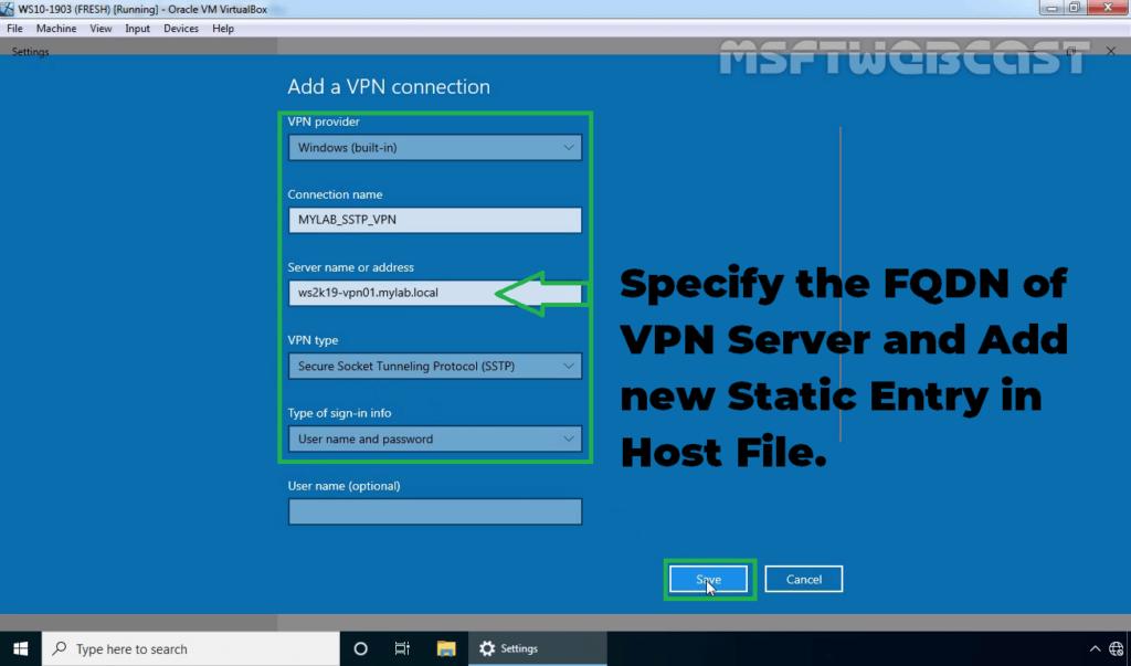 24. Specify VPN Connection Details