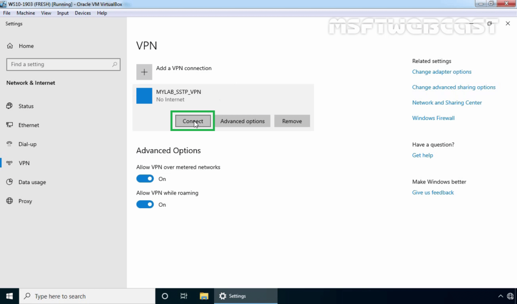 25. Click on VPN Connection and Select Connect