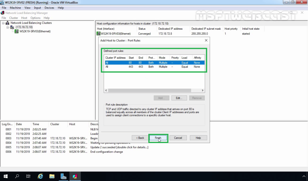 27. Click Finish to complete Cluster Configuration