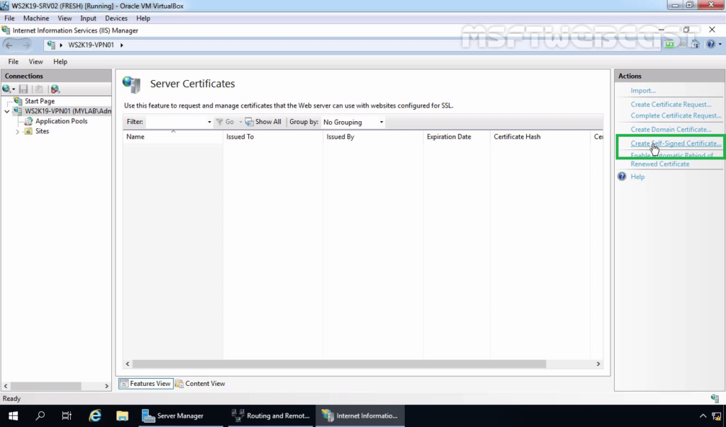3. Click on Create a Self-Signed Certificate
