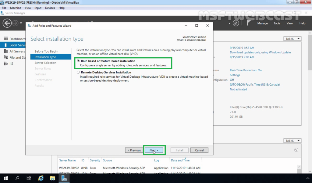 3. Select Role-based or Feature-based Installation