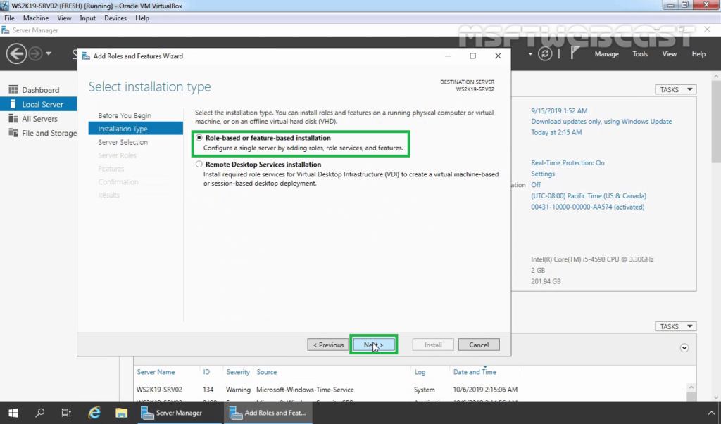 3. select role-based and feature-based installation